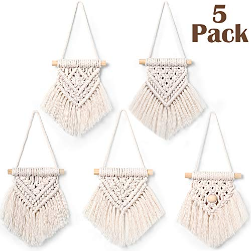 WILLBOND 5 Pieces Mini Macrame Wall Hanging Decor Handmade Woven Tapestry Tassel Wall Hanging Ornaments Boho Wall Hanging Macrame for Apartment Room Home Office Decoration