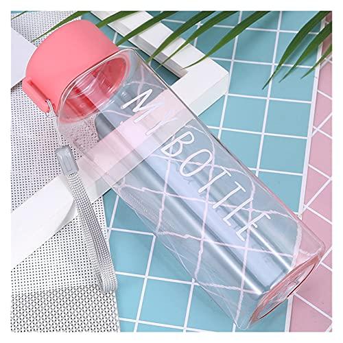 tazza Studente Sport Bottiglia di acqua Bottiglia coppia grande capacità tazza d'acqua all'aperto portatile drink tazza tazza di plastica creativa tazza con manico ( Capacity : 500ml , Color : Pink )