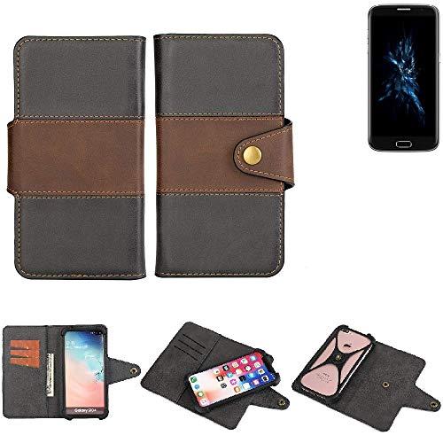 K-S-Trade® Handy-Hülle Schutz-Hülle Bookstyle Wallet-Case Für -Bluboo Edge- Bumper R&umschutz Schwarz-braun 1x
