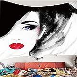 Tapiz de impresión en Color 3D Estilo nórdico Dibujado a Mano Moda Mujer patrón de Labios Rojos decoración del hogar tapices Arte de Pared para Habitaciones 300(An) x260(H) cm