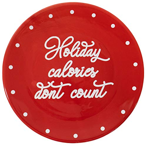 """""""Holiday Calories Don't Count"""" Christmas Themed 8"""" Ceramic Accent Plate"""