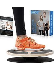 SportyAnis® Premium Balance-board hout incl. oefenboek en optioneel onderlegmat, diameter 40 cm - therapiebord voor fysiotherapie ter versterking van de diepe spieren.