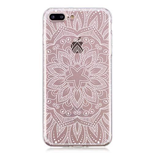 CrazyLemon Hülle für iPhone 8 Plus, Hülle für iPhone 7 Plus, Silikon Dünn Case 3D Kreativ Geprägt Transparent Weich Leicht Cover Ultra Slim TPU Schlank Bumper Handyhülle - Stechapfelblüten