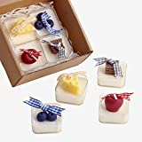 ✿【APPEARANCE AND SMELL】:Dessert tea light candles of cherries give a joyous mood.The crispness of the biscuits make you feel decompression, The sweet and sour juicy blueberries are bashing.The cute tiny cheese, having refresh and elegant pear blossom...