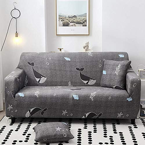 Waterproof Sofa Protectors from Pets Dogs Living Room Dolphin Couch Covers Seat Cover Non-Slip Furniture for Sofa with Strap Soft Thick Quilted Reversible 145-185Cm