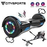 CITYSPORTS Overboard 6.5 Pulgadas Hover Board Bluetooth, Patinete Eléctrico Self-Balance Board Motor 700W con Ruedas LED de Flash, Monopatín Eléctrico Niño Adulto