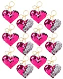 Valentines Party Favors Gifts For Kids - Flip Sequin Heart Keychains (12 Pack) - Bulk Kids Gift Set Valentine Classroom Exchange, Class Party Favor Toy by 4E's Novelty