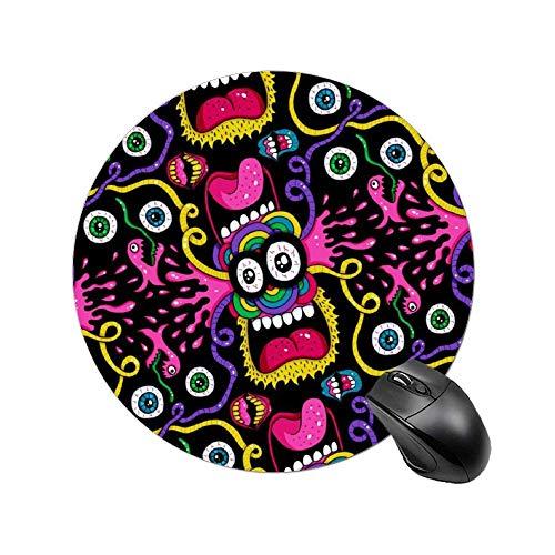 Rundes Mauspad, Premium-strukturierte Mauspad mit genähten Gummibasis-Gummipads für den Laptop (Crazy Faces Poster)