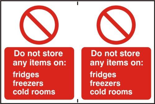 """Espectro Industrial 0653""""no almacenamos Ninguna artículos en frigoríficos, congela, cámaras frigoríficas Autoadhesivo PVC, 300x 200mm"""