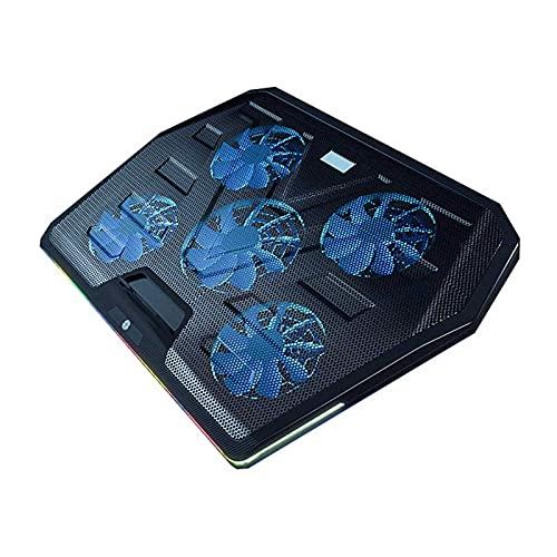 Haoran Base De Refrigeración para Portátil,Cinco Ventiladores Turbo,10Tipos De Luces De Colores,Soporte Ajustable,RGB Táctil, Diseño De Puerto USB Dual,Enfriador De NotebookB