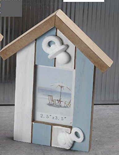 Cadre photo en bois Bleu clair Shabby Chic Maison Nichoir Sucette et sognaglio