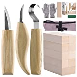 Fuyit 17pcs Wood Carving Set Wood Carving Beginner Kit Includes Carving Blocks, Hook Knife, Whittling Knife,...