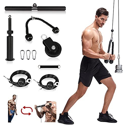 PalliPartners Fitness LAT and Lift Pulley System with Loading Pin Arm Muscle Strength Fitness Equipment Home Gym Workout Equipment, for Triceps Pull Down, Biceps Curl, Back, Forearm