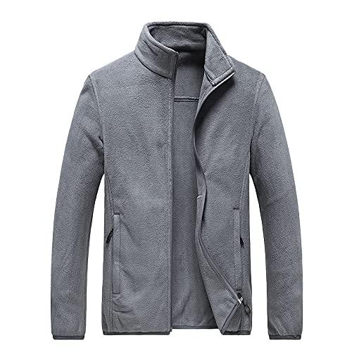 ARbuliry Plain Men Jacket, Micro Fleece Windproof Men Jackets, Stand Collar Lightweight Warm Men Ocio Chaquetas (Gris 6XL)