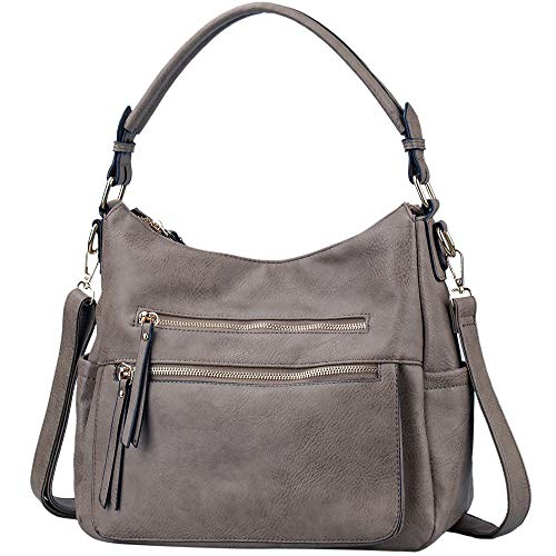 Handbags JOYSON Crossbody Bags PU Leather Hobo Shoulder Bag Multi-pocket Top-Handle Purse Grey Brown