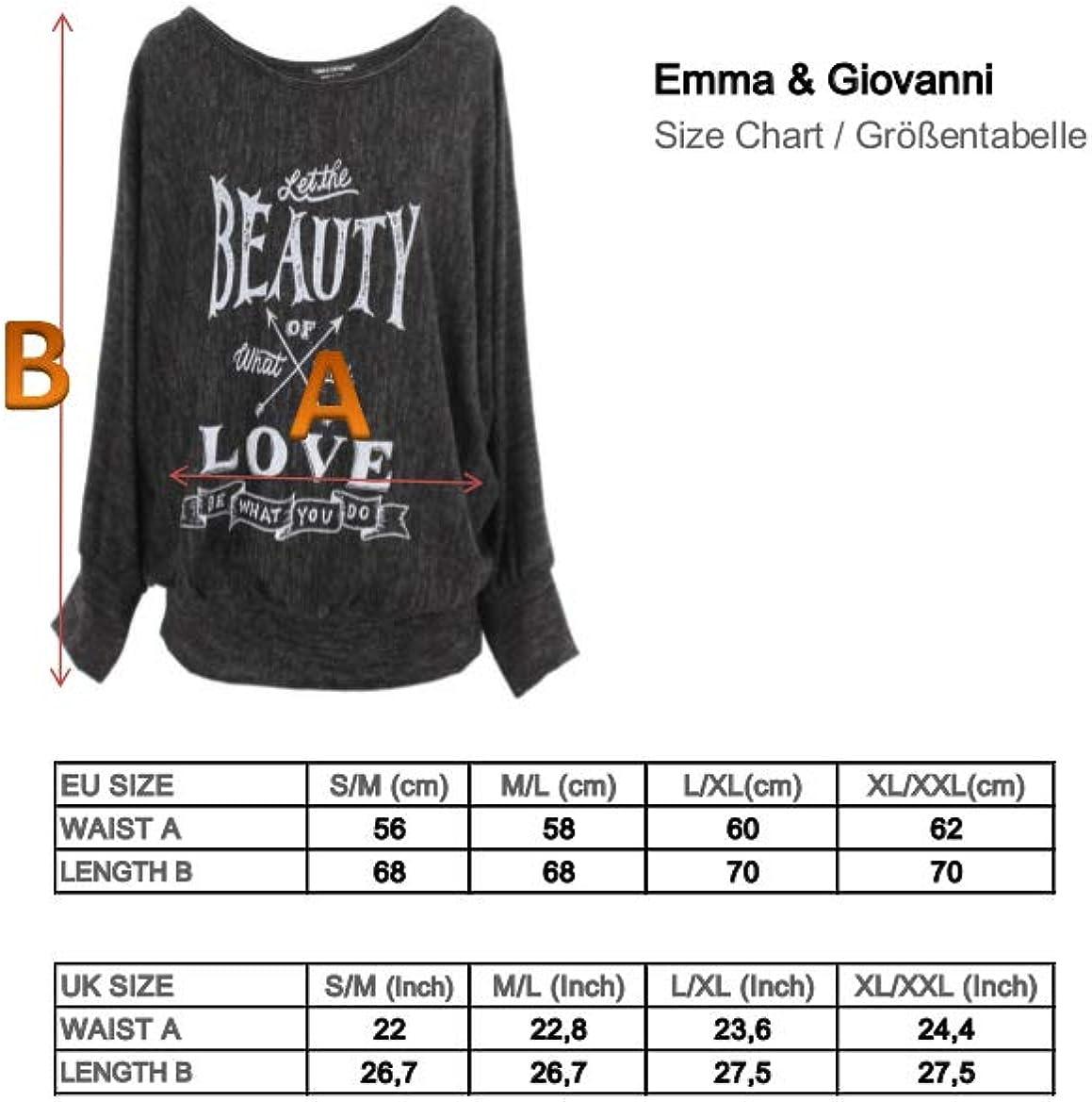 Top Style Manche Chauve Souris Oversize//Imprim/é Femme Emma /& Giovanni