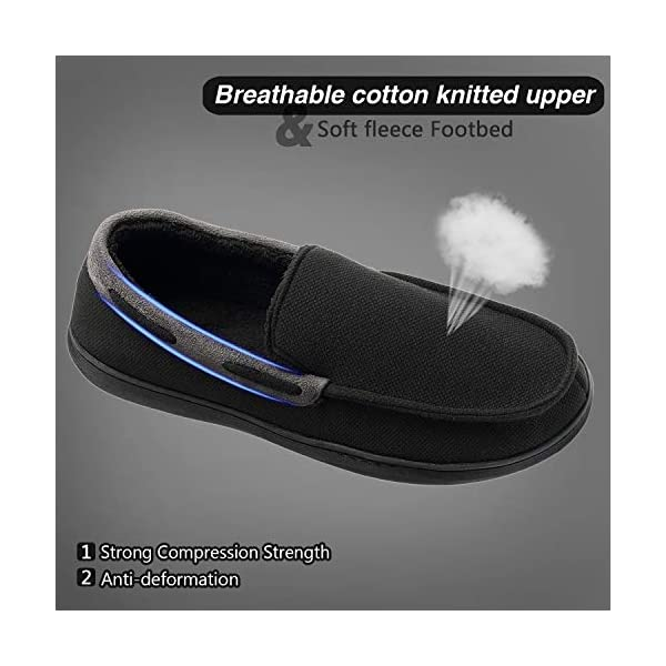 Mens Moccasin Slippers, Memory Foam Anti Skid Slip On House Shoes, Comfortable Indoor Outdoor Driving Loafers Shoes