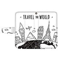 スマQ URBANO V04 KYV45 カード スマホケース 手帳型 KYOCERA 京セラ アルバーノ ブイゼロヨン (A.ホワイト) 世界旅行 手書き風 ami_vc-489_sp