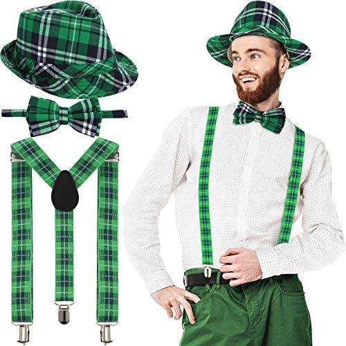 SATINIOR St. Patrick's Day Hut Grün Karierten Stoff Fedora Hut Fliege Krawatte und Hosenträger Irischen Party Kostüm für Männer und Damen