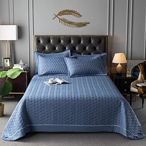 Juego de colcha de cama, edredón de tamaño completo, manta ligera de verano, juego de funda de edredón, decoración de cama ligera, azul, juego de 3 piezas: 230250 cm