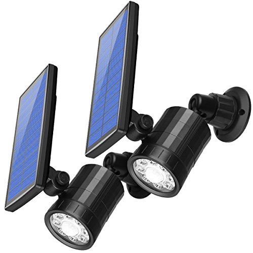 [2 Pack] AMIR Lampe Solaire Detecteur de Mouvement Exterieur, Luminaire Exterieur Eclairage Solaires de Sécurité Projecteurs, 800 Lumens Éclairage de Sécurité Sans Fil pour Porch, Patio, Chemin