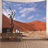 Beydodo Tapiz de para Colgar en la Pared,Desierto y Árbol Azul y Marrón Tapiz Pared Poliester Tapiz Nordico 210x140CM