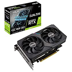 ASUS Dual GeForce RTX3060 TI Mini 8G V2 OC Edition Gaming Grafikkarte (Lite Hash Rate (LHR), Nvidia Ampere, PCIe 4.0, 8GB DDR6 Speicher, 2x HDMI 1.2, 3x DisplayPort 1.4a, DUAL-RTX3060TI-O8G-Mini-V2)