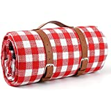 Dexon Large Picnic & Outdoor Blanket 3 Layers Water-Resistant Handy Spring Summer Red And White Checkered Picnic Blanket,Great for Beach And Camping On Grass, Waterproof Sandproof