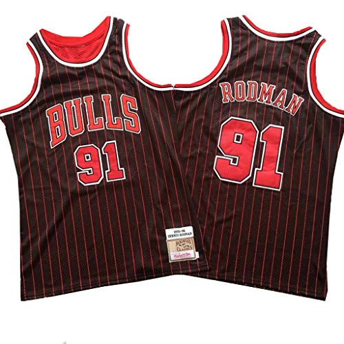 XYFF Dennis Rodman- # 91-Chicago Bulls Herren-Basketballtrikot, Black Red Bar Geheime Stickerei Retro-Version Trikot-XS(160-170cm)