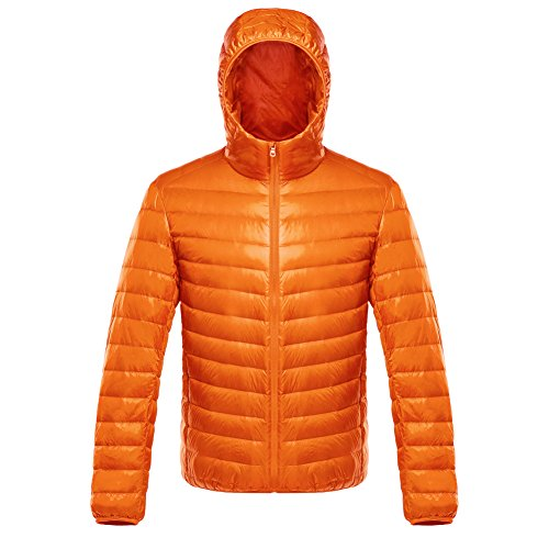 ON Herren Daunenjacke Winterjacke leicht duenn Daunenmantel Herren down Jacket mit Muetze Orange L