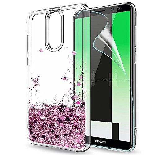 LeYi Funda Huawei Mate 10 Lite Silicona Purpurina Carcasa con HD Protectores de Pantalla,Transparente Cristal Bumper Telefono Gel TPU Fundas Case Cover para Movil Huawei Mate 10 Lite ZX Oro Rosa