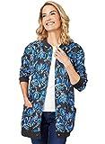 AmeriMark Women's Fleece Cardigan Sweater –Lightweight Soft Long Sleeve Jacket Birds Large