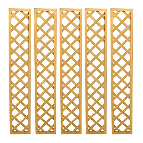 Selections Set of 5 Wooden Framed Square Garden Trellis with Lattice Framework 180cm x 30cm