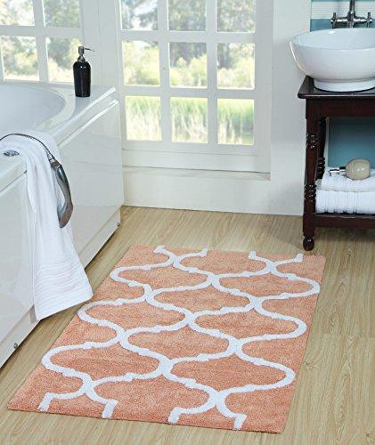 Saffron Fabs SFBR1451 Geometric Bath Rug Cotton, 50 Inch x 30 Inch, Coral/White