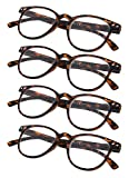4-Pack Round Full Coverage Reading Glasses with Ultrathin Flex Frame Sunshine Readers for Man and Women Tortoise +1.75