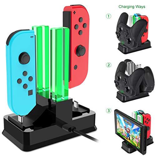 Onedream Carga Compatible para Nintendo Switch, Base de Cargador para Nintendo Switch Joy-con Pro Controller Console, Cargador Dock Stand Carga Accesorios para Nintendo Switch