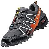 Csgkag Zapatillas Trekking Hombre Zapatos de Senderismo Zapatillas Trail Running Escalada Aire Libre Antideslizantes Ligero Deportivas,Gris Naranja,EU44