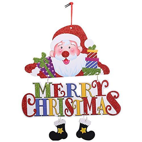 FinukGo New Christmas Door Hanging Decorazioni Natalizie Pupazzo di Neve Babbo Natale impilato Appendi Il Negozio Bar Decorazioni Festivel - Multicolore
