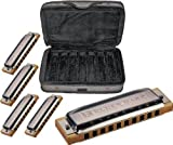 Hohner COB Case of Blues 5 Harmonica Bundle - Keys of G, A, C, D, and E