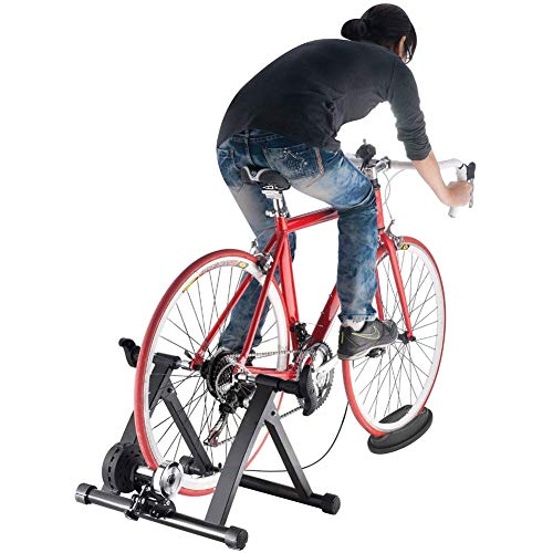 Sibosen Bike Trainer Stand Indoor Magnetic Bicycle Exercise Stand with Magnetic Flywheel and 5 Levels Resistance for Mountain & Road Bike