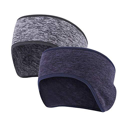 Amasawa 2 Piezas Cinta para el Pelo Orejeras,Stretchy Winter Headband Térmico Diadema Invierno Calentador de Orejas para Hombres Mujeres Corriendo Deportes