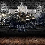 Yidyin Impresión 5 Piezas 150x80cm Pintura Lienzo Cuadros Decorativo Para Decoracion Póster Salón Modernos Dormitorio - Tanque Tiger I de la Segunda Guerra Mundial - Con marco