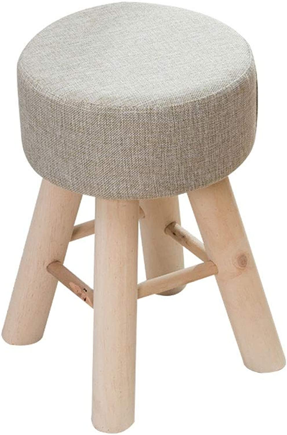 Solid Wood Footstool,Small Bench for Home, Creative Small Chair, Fabric Round Makeup Stool High Rebound Sponge Filling Cushion - 28cmX28cmX43cm (color   Beige)
