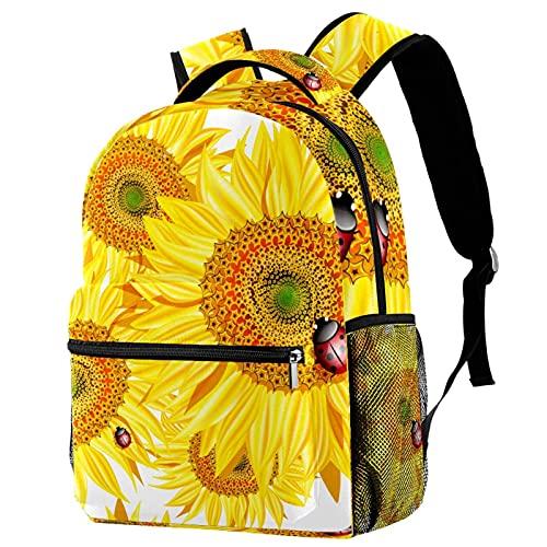 Mochila para niñas y niños, bolsa de escuela, bolsa de libros para mujeres, mochila casual con correas ajustables para el hombro, pata de tigre, Girasol Ladybug 9 (Multicolor) - w04