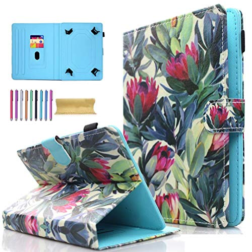 Universal 7.0' Tablet Case, AMOTIE Wallet Stand Cover w/Credit Card Slots for Samsung Galaxy Tab E 7.0/ Tab A 7.0/ Fire 7.0 2015 2017/ Lenovo/RCA and More 6.5-7.5 inch Tablet, Flower