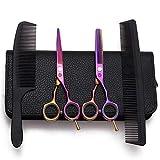 SXFXZ (5,5 Pulgadas) Tijeras Profesionales de Corte y Las Tijeras de reducción Durable de Colores Kit 6CR Acero Convexo Edge Conjunto de peluquería para el salón de Pelo - Bolsa de Cuero con Peine