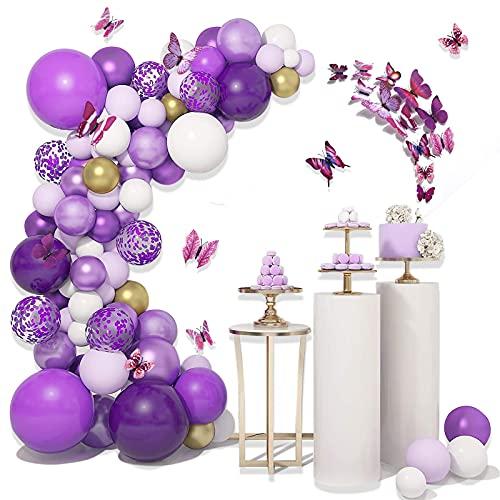 MMTX Arco de Globos 108 Piezas Kit de Guirnalda Púrpura Blanco Mariposa Látex Decoración de Fiesta Suministros para Niñas Baby Shower para Cualquier Edad Cumpleaños Bodas Graduación Decoraciones