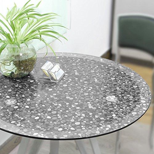 Nappes Nappe ronde / PVC [Tissu à table ronde imperméable à l'eau] / Tapis de table en verre anti-doux / Imperméable Anti-huile Hôtel Table Ménage Transparent Pierre Ronde ( Couleur : Round/2MM , taille : 80cm )