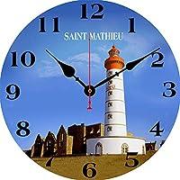 船の壁時計、レトロなファッションの壁時計、木製の段ボール時計、現代の家の装飾サークル片面ステッカー34CM,F