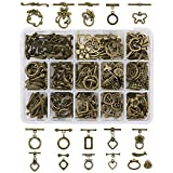 PH PandaHall 120 Sets 15 Styles Bracelet Toggle Clasps Tibetan Jewelry Clasp T-bar Closure Clasps IQ Toggle Clasps TBar Clasps Findings for Necklace Bracelet Jewelry Making (Antique Bronze)